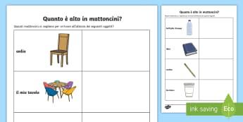 Quanto misura in mattoncini Attività - misura, mattoncini, lego, italiano, italian, lunghezza, materiale, scolastico