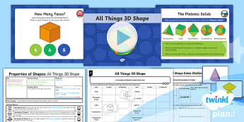 PlanIt Y6 Properties of Shape Lesson Pack - Properties of Shape, 3D Shapes, shape nets, vertices, edges, faces