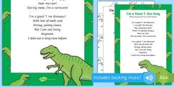 I'm a Giant T. Rex Song - EYFS, Early Years, KS1, dinosaurs, prehistoric, Jurassic, pterodactyl, T.rex, tyrannosaurus rex, ple
