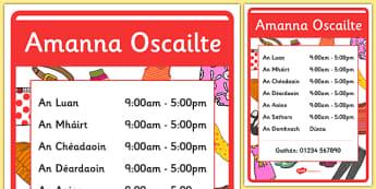 An Siopa Éadaí - Irish Clothes Shop Role Play Opening Times Gaeilge - Irish, Gaeilge, role play, clothes, clothes shop, eadai, éadaí, an siopa éadaí, resource pack, clothes shop opening times