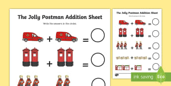 Addition Sheet to Support Teaching on The Jolly Postman - the jolly postman, addition, sheet, addition sheet, jolly postman worksheet, the jolly postman addition, numeracy, maths