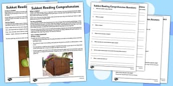 Sukkot Reading Comprehension Activity - sukkot, reading, comprehension