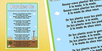 Savez-vous planter des choux ? Nursery Rhyme Lyric Sheet - french, nursery rhyme, savez-vous planter des choux