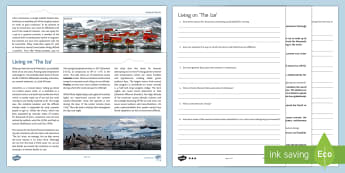 Living on 'The Ice': Differentiated Reading Comprehension Activity - Comprehensions KS3/4 English, reading comprehension, Antarctica, Arctic, education around the world,