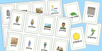 Two Syllable GR Flash Cards - sen, sound, gr sound, gr, two syllable, flash cards