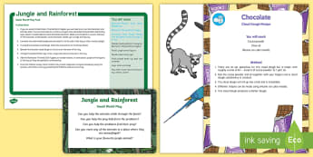 Jungle and Rainforest Small World Play Idea and Printable Resource Pack - Jungle and Rainforest, tuff tray, tuff spot, sensory play, forest, amazon, jungle animals