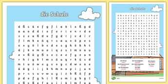 German School Vocabulary Word Search