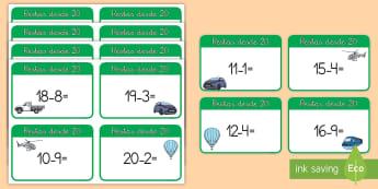 Tarjetas de trivial: Restas desde 20 - El transporte - transporte, viajar, viajes, coche, globo aerostático, tren, helicóptero, camión, comioneta, resta