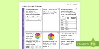 Foundation: Probability (Calculator) Activity Mat - using  applying, reasoning  fluency, problem solving Foundation, revision, GCSE, Maths, probability