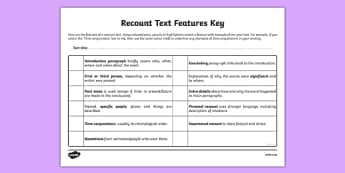 LKS2 Features of a Recount Text Checklist - features, text, check