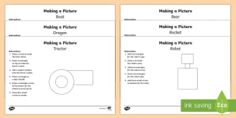 KS1 Drawing 2D Shape Pictures Activity Sheets - 2D, shape, instructions, numbered, steps, follow, draw, drawing, picture, circle, semi-circle, trian