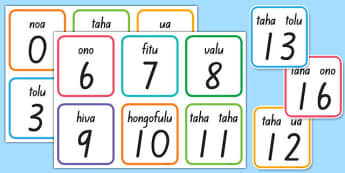 Tongan Numbers Flashcards