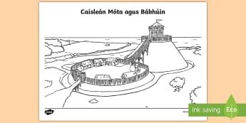 Caisleán Móta agus Bábhúin Colouring Page - normans, motte and bailey, history, caisleán, móta agus bábhúin, gaelscoil,