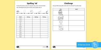 Year 1 Spelling Practice Sheet 'nk' Word Endings Go Respond Activity Sheet - ks1, English, year 1, practice, home learning, home work, Worksheet, homework, practise, SPaG, spell