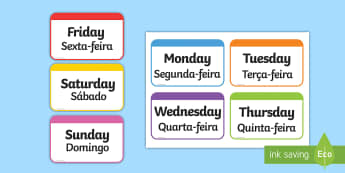 Days of the Week Flashcards English/Portuguese - Days of the Week Flashcards - days, week, flashcards, cards, days of the wek, days pf the week, days