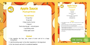 Apple Sauce Playdough Recipe