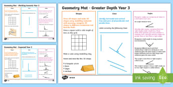 Year 3 Geometry Differentiated Maths Mats - circle, Square, Turn, Assessment, Cube, Sphere, Polygon