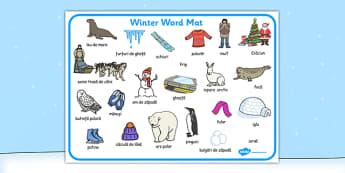 Iarna, Plansa de Cuvinte imprimabila, urs polar, iglu, patinaj, Romanian