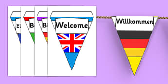 Mixed Languages Welcome Display Bunting - welcome bunting, welcome on bunting, welcome in mixed languages on bunting, welcome languages bunting, welcome