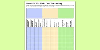 GCSE Français Carte photo Feuille d'enregistrement pour professeurs - french, GCSE, Photo Card, Record Log, Teacher