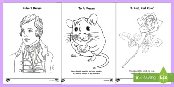 Robert Burns Colouring Pages - Robert burns, burns night, burns day, ode to a mouse, colouring sheets