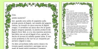 La lettera di Jack e la pianta di fagioli per imparare il volume Attività - jack, e , la, pianta, di, fagioli,lettera, leggere, attivita, esercizio, misure, volume, italiano, i