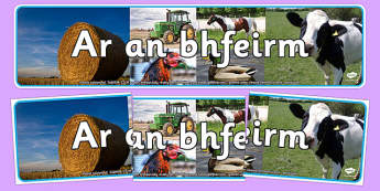 On the Farm Photo Display Banner Irish Gaeilge - animals, cow, farmer, realistic