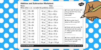 Addition and Subraction Worksheet - addition worksheet, subtraction worksheet, ks2 maths sums, ks2 maths problems, ks2 addition sums, ks2 subtraction sums