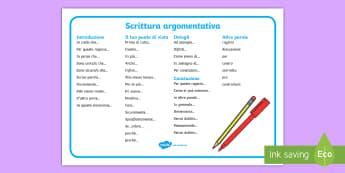 Scrittura argomentativa Vocabolario Illustrato - scrittura, scrivere, esercizio, poster, aiuto, sostegno, italiano, italian, materiale, scolastico
