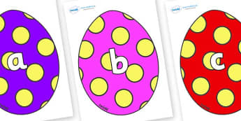 Phase 2 Phonemes on Easter Eggs (Spots) - Phonemes, phoneme, Phase 2, Phase two, Foundation, Literacy, Letters and Sounds, DfES, display