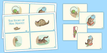 The Story of Miss Moppet Story Sequencing Cards - beatrix potter, tale, traditional, fun, activity, animals, characters, retell, pictures, illustrated, share, ks1, key stage 1, early years, english, literacy, order