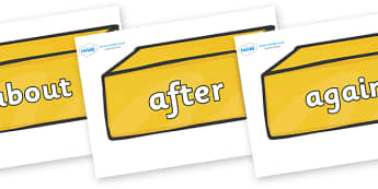 KS1 Keywords on Gold Bars - KS1, CLL, Communication language and literacy, Display, Key words, high frequency words, foundation stage literacy, DfES Letters and Sounds, Letters and Sounds, spelling