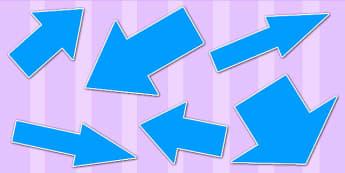 Blue Directional Arrows Cut Outs - blue directional arrows, cut outs, directional arrows, directional arrow cut outs, directional arrows worksheet