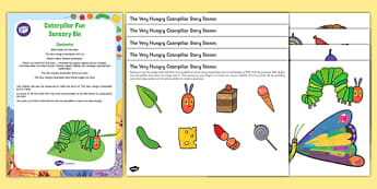 Caterpillar Fun Sensory Bin and Resource Pack To Support Teaching on The Very Hungry Caterpillar - EYFS, egg, cocoon, butterfly, early years, caterpillar, minibeasts, hungry, eric carle