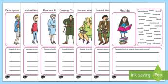 Matilda - Pagini de scris cu adjective pentru descrierea personajelor