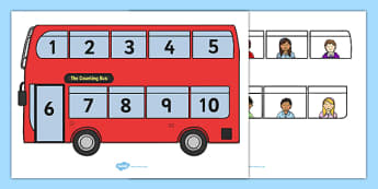 Interactive Bus Counting Activity - Counting game, one to one correspondence, counting activity, counting reliably, how many, foundation numeracy, counting on, counting back