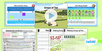PlanIt Y1 Multiplication and Division Lesson Pack Multiplying and Dividing by Two (1) - same size groups, groups of two, multiplying and dividing by two, two times table, planning