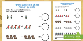 Pirate Addition Activity Sheet English/Romanian - Pirate Addition Sheet - pirate, pirates, pirate addition, pirate addition worksheet, pirate counting