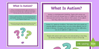 What Is Autism? A4 Display Poster - KS1&KS2 World Autism Awareness Day (2nd April 2017)