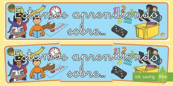 Pancarta: Estamos aprendiendo sobre... - pancarta, mates, matemáticas, estamos aprendiendo, mural, exposición, exponer, decorar, decoració