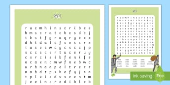 sc Sound Differentiated Word Search - Irish, spelling, speaking, find, locate, fun