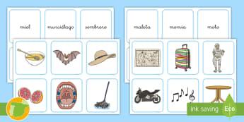 Tarjetas de emparejar: La letra M - juego lectoescritura, juego lecto, lecto, leer, lectura, sonidos, lecto-escritura, fonemas, sonidos,