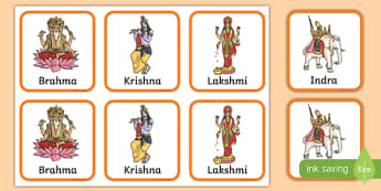 Hindu Gods Snap Cards Activity