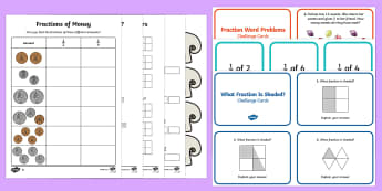Fractions of Amounts - Find Fractions, Resources, Teaching, Lessons, Ideas - Fractions of Amounts - Recognise, find, name and write fractions  of a length, shape, set of objects