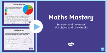 Year 6 Interpret and Construct Pie Charts and Line Graphs Maths Mastery Activities PowerPoint - Year 6 Maths Mastery, pie chart, line graph.