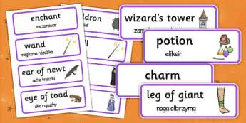 Magic Word Cards Polish Translation - polish, halloween, word cards, word, cards, magic