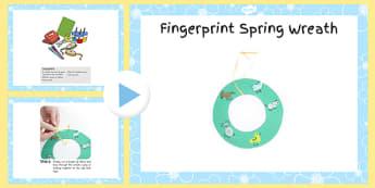 Fingerprint Spring Wreath Craft Instructions PowerPoint - craft, powerpoint, fingerprint, spring, wreath, instructions