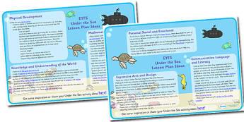 Under The Sea Lesson Plan and Enhancement Ideas EYFS - EYFS, ocean, lesson ideas