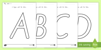 'My name begins with the letter...' Big Letter Colouring Sheets - 'My name begins with the letter...' Big Letter Colouring Sheets - my name begins with, my name beg
