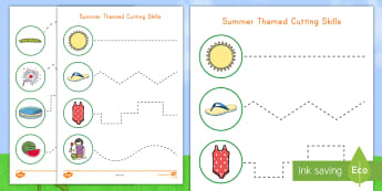Summer Cutting Skills Activity Sheet - Summer, summer season, first day of summer, summer vacation, summertime, grip strength, hand-eye coo